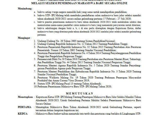 PENETAPAN MAHASISWA BARU JALUR SELEKSI MANDIRI TAHUN AKADEMIK 2020/2021 UNTUK GELOMBANG PERTAMA
