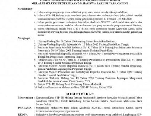 SK PENETAPAN MAHASISWA BARU GELOMBANG II TAHUN AKADEMIK 2020-2021