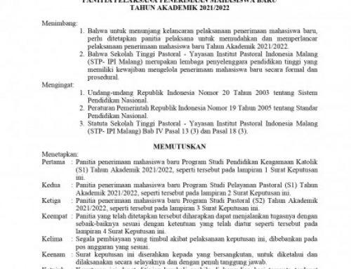 SK PENERIMAAN MAHASISWA BARU 2021-2022