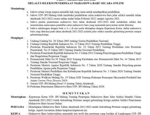 SK Penetapan Mahasiswa Baru (2021-2022)